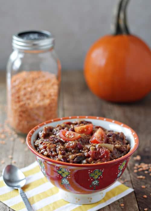 Slow Cooker Pumpkin Red Lentil Chili