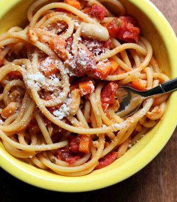 spaghetti with cannelini bean bolognese