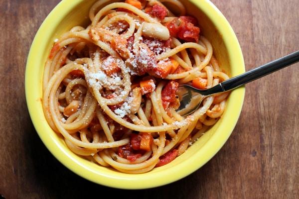 spaghetti with cannelini bean bolognese