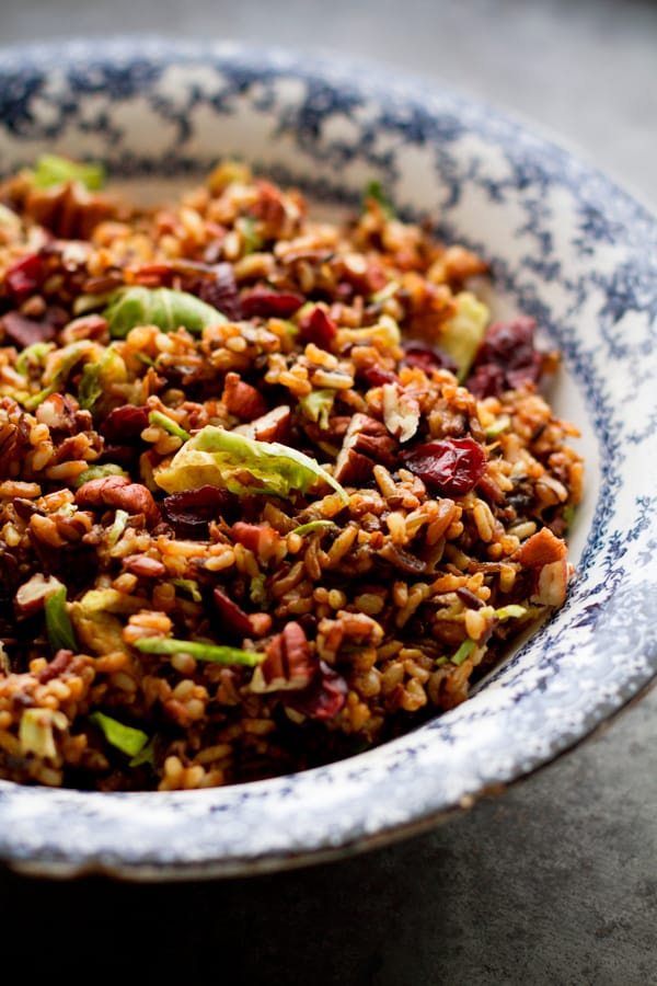 Wild Rice Pilaf with Brussels Sprouts and Sage Vinaigrette
