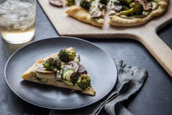 Roasted Vegetable and White Bean Pesto Hummus Pizza Recipe