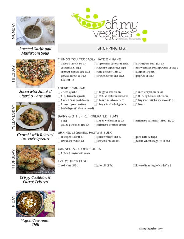 Vegetarian Meal Plan & Shopping List - 02.02.15