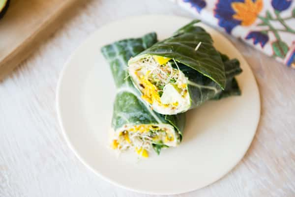 Collard Hummus Wraps with Golden Beets and Sprouts