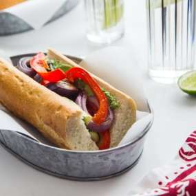 Roasted Vegetable Sandwiches with Creamy Chimichurri Spread Recipe
