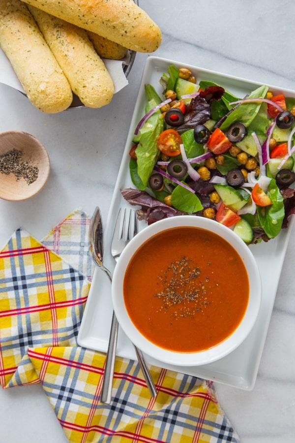 Italian Salad with Crispy Herb-Roasted Chickpeas