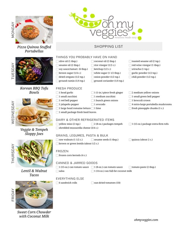 Vegetarian Meal Plan & Shopping List - 04.13.15