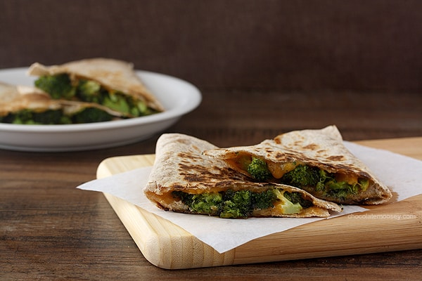 Roasted Broccoli and Cheese Quesadillas