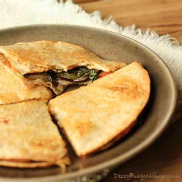 Cheesy Eggplant and Apple Quesadillas