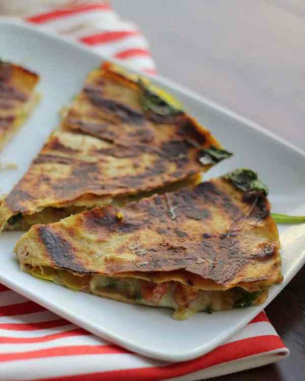 Curried Spinach and Zucchini Quesadillas