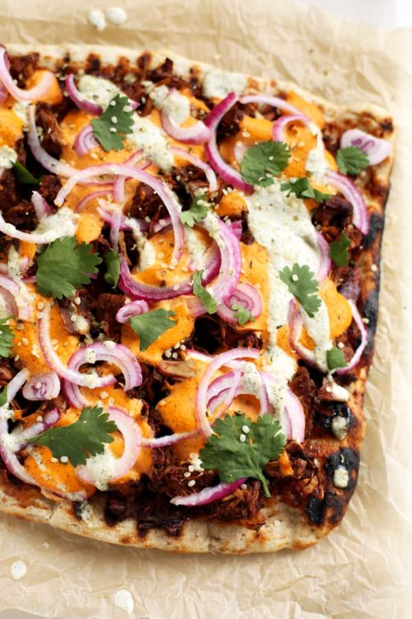 BBQ Jackfruit Pizza with Hemp Seed Cheddar
