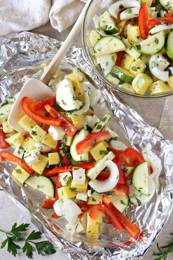 Grilled Vegetable and Halloumi Foil Packets