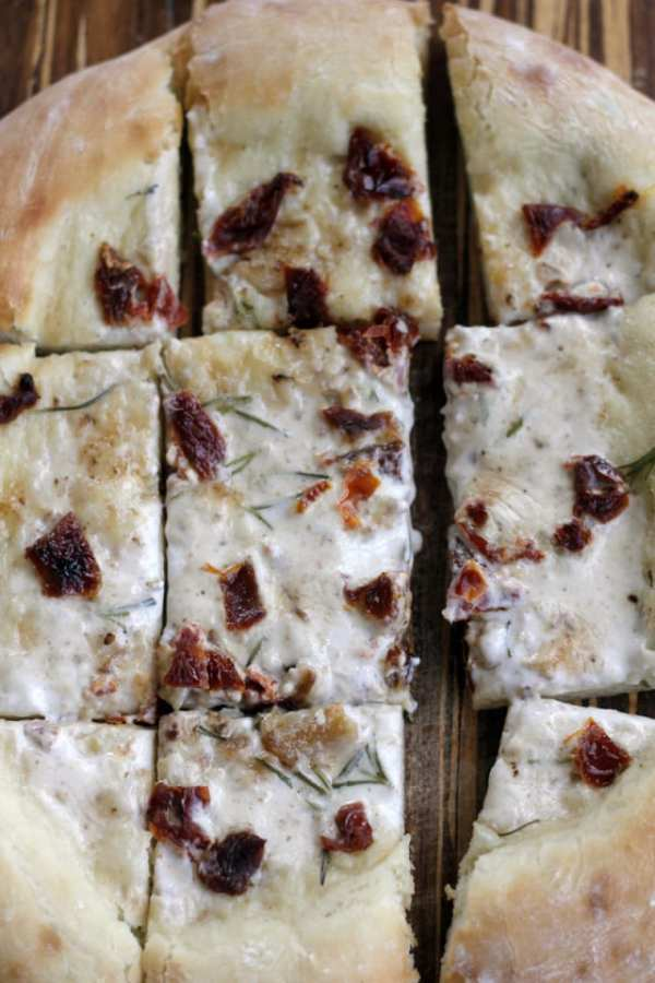 White Vegan Pizza with Sundried Tomatoes and Rosemary