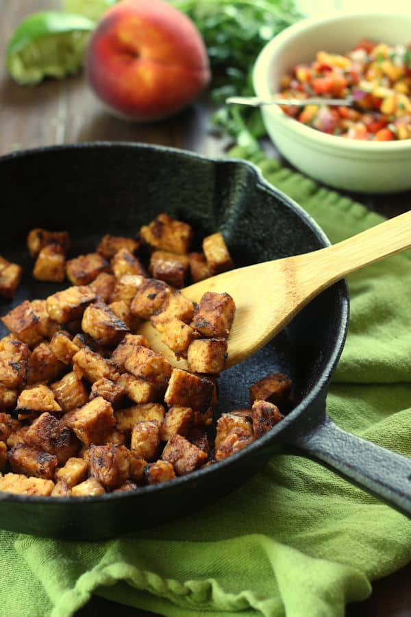 Chipotle Tempeh Tacos with Peach Salsa