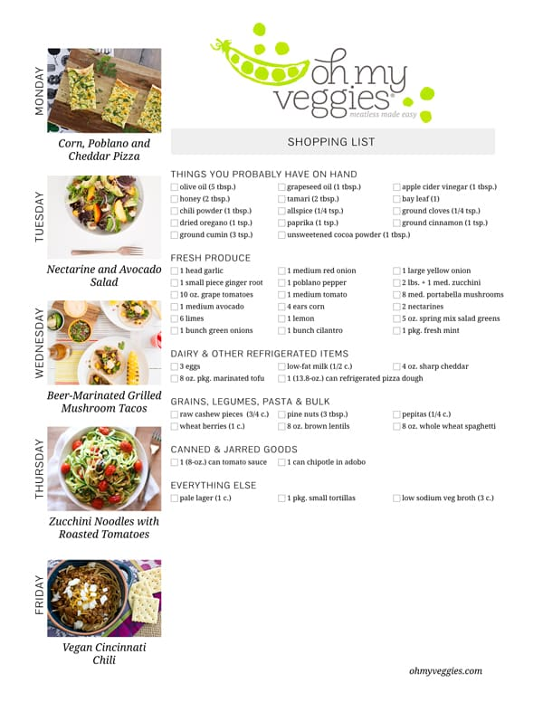 Vegetarian Meal Plan & Shopping List - 09.14.15