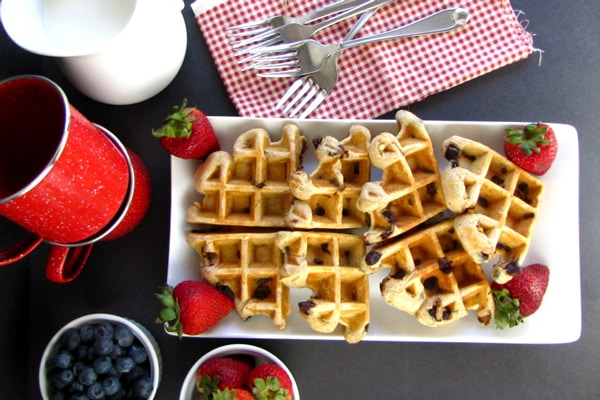 Peanut Butter Chocolate Chip Protein Waffles