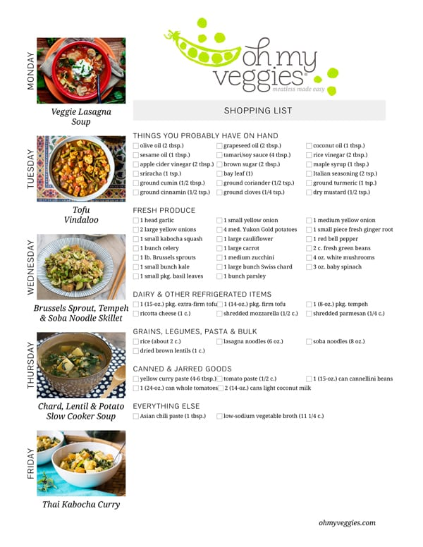 Vegetarian Meal Plan & Shopping List - 10.26.15