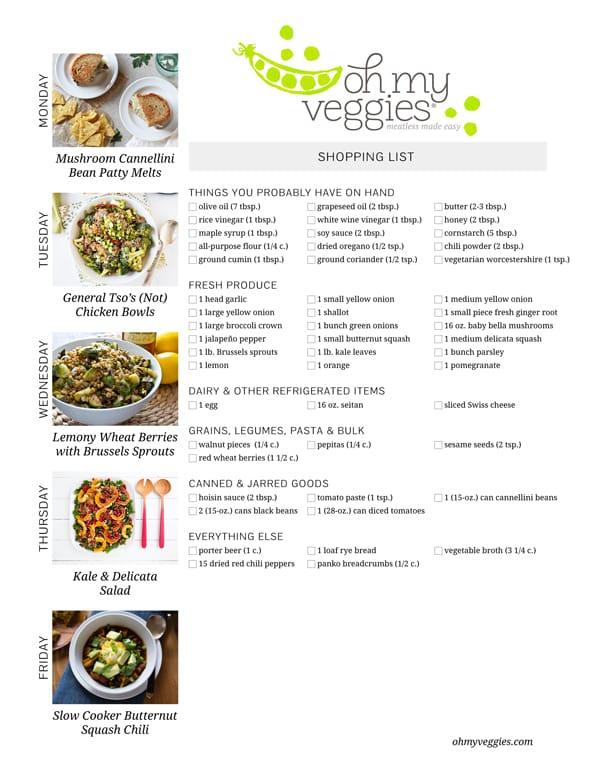 Vegetarian Meal Plan & Shopping List - 10.19.15