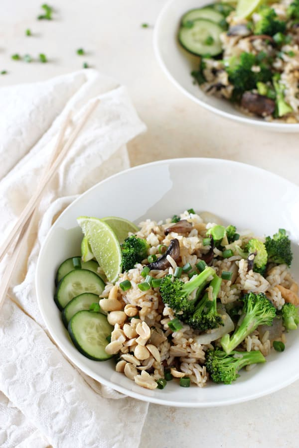 Broccoli and Mushroom Thai Fried Rice