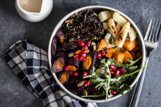 Wild Rice & Roasted Root Vegetable Bowls