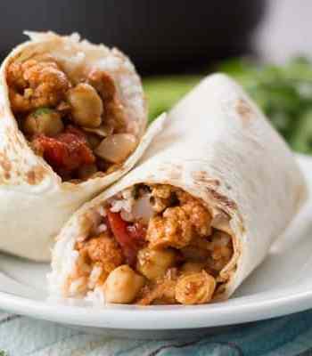 Indian Curried Cauliflower & Chickpea Burritos
