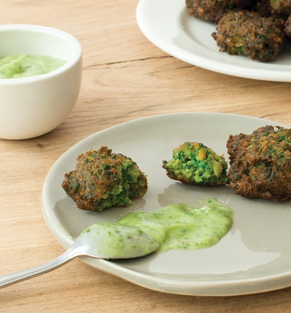 Spinach and Chickpea Spoon Fritters