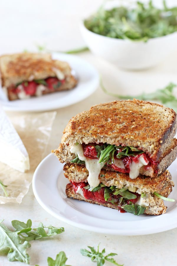 Roasted Strawberry and Brie Grilled Cheese