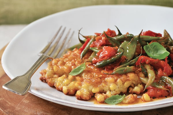 Corn Fritters with Summer Bean Ragout