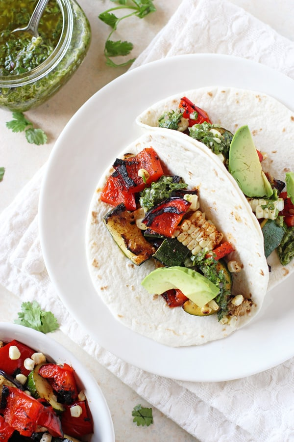 Grilled Veggie Tacos with Chimichurri