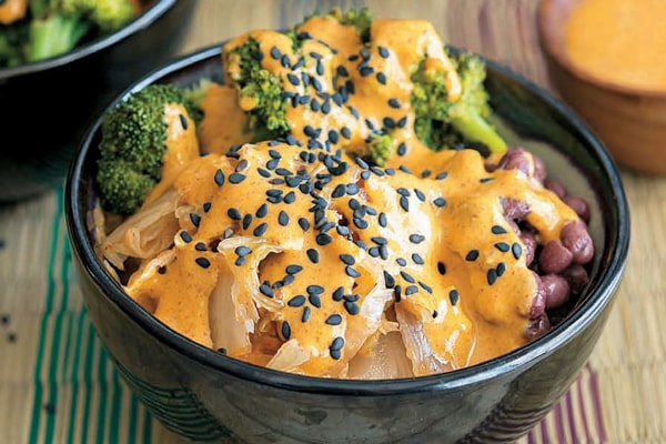 Kimchi Bowl with Red Curry Almond Sauce