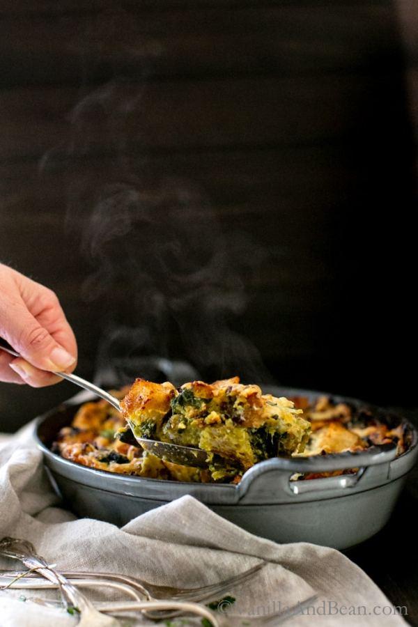 Kale, Mushroom & Leek Bread Pudding