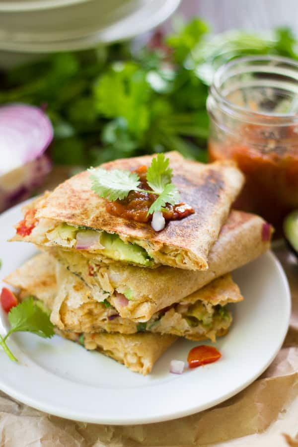 Vegan Smashed White Bean Quesadillas