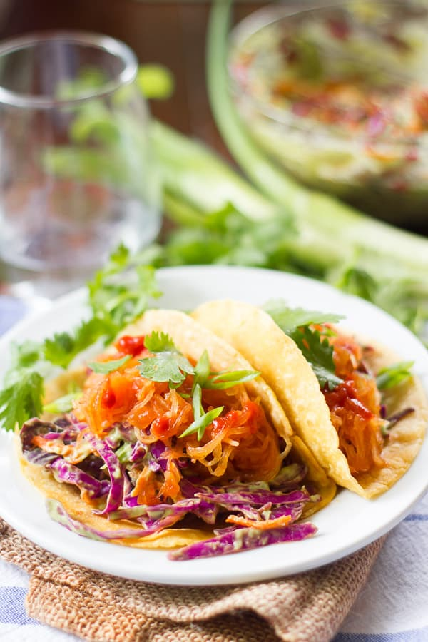 Pulled Spaghetti Squash Tacos with Avocado Slaw