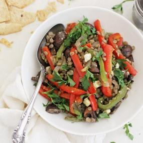 Honey Balsamic Roasted Vegetable Lentil Salad