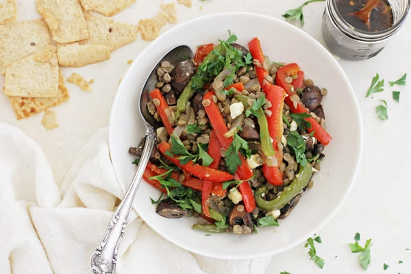 Honey Balsamic Roasted Vegetable Lentil Salad
