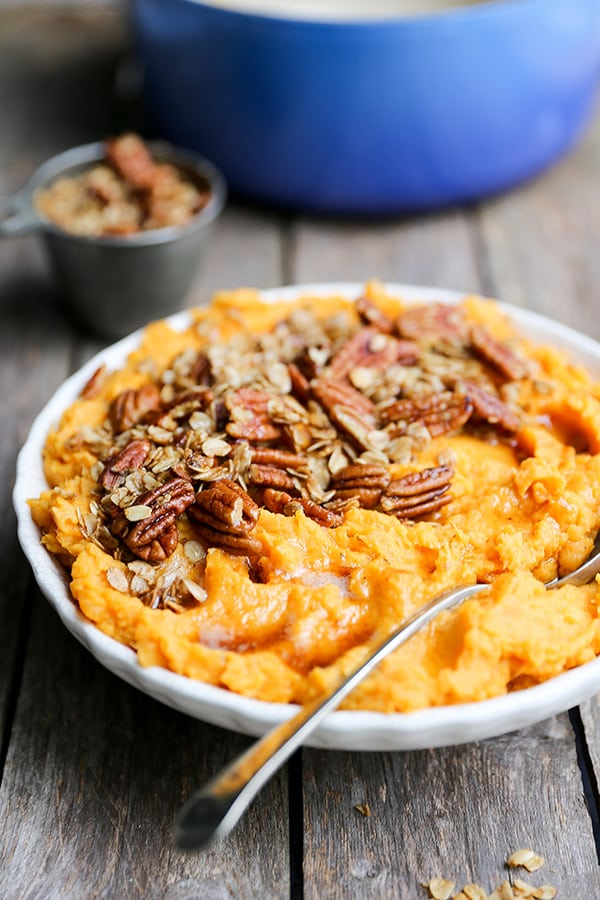 Browned Butter Mashed Sweet Potatoes with Oat-Pecan Granola