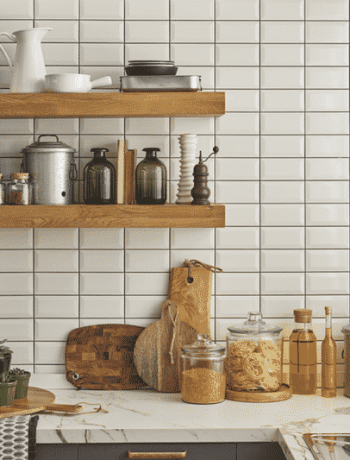 Open shelves and clear containers in clean kitchen