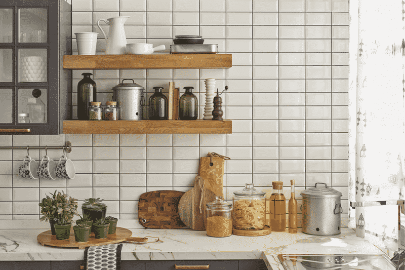 Setting Up Your Kitchen To Eat More Meals At Home. Open Shelves And Clear  Containers In Clean Kitchen