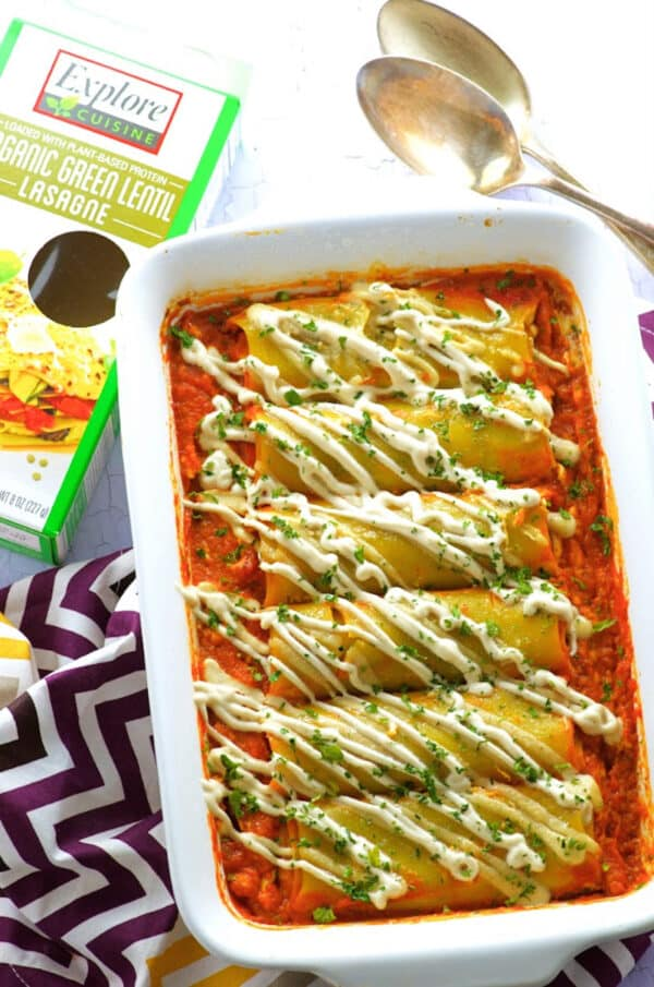 explore cuisine organic green lentil lasagne pumpkin stuffed green lentil cannelloni
