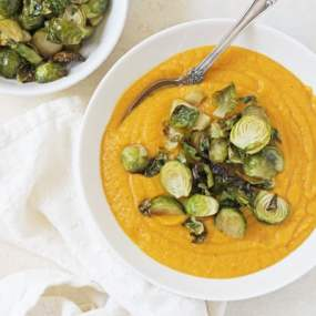 Butternut Squash Soup with Crispy Brussels Sprouts