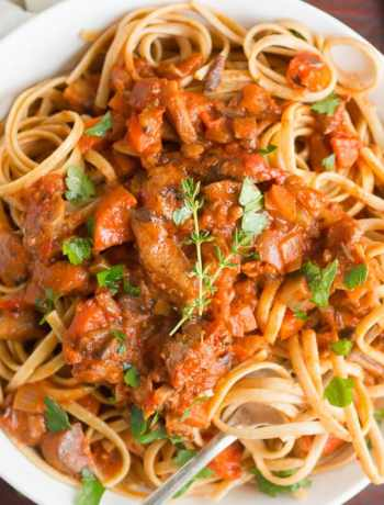 Pasta with Mushroom Bolognese Sauce