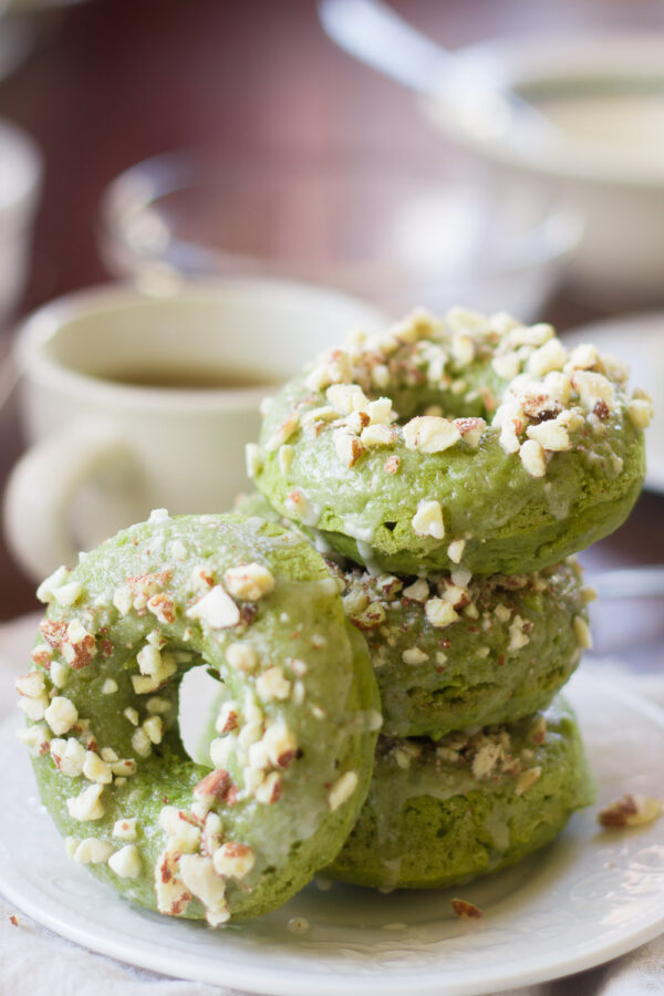 Matcha Doughnuts with Almond Glaze