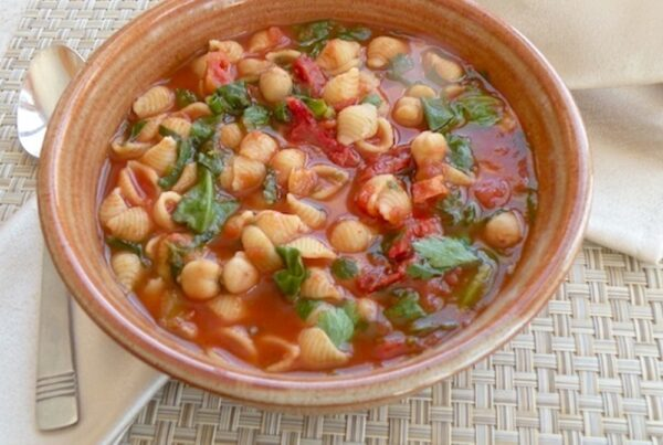 tomato chickpea soup with tiny pasta and fresh herbs