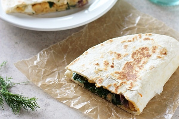Greek Chickpea Quesadillas
