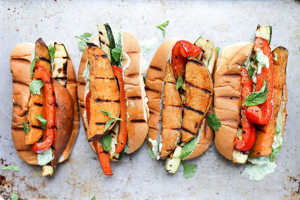 15 of the Best Vegetarian Grilling Recipes: Grilled Sweet Potato and Vegetable Sandwiches