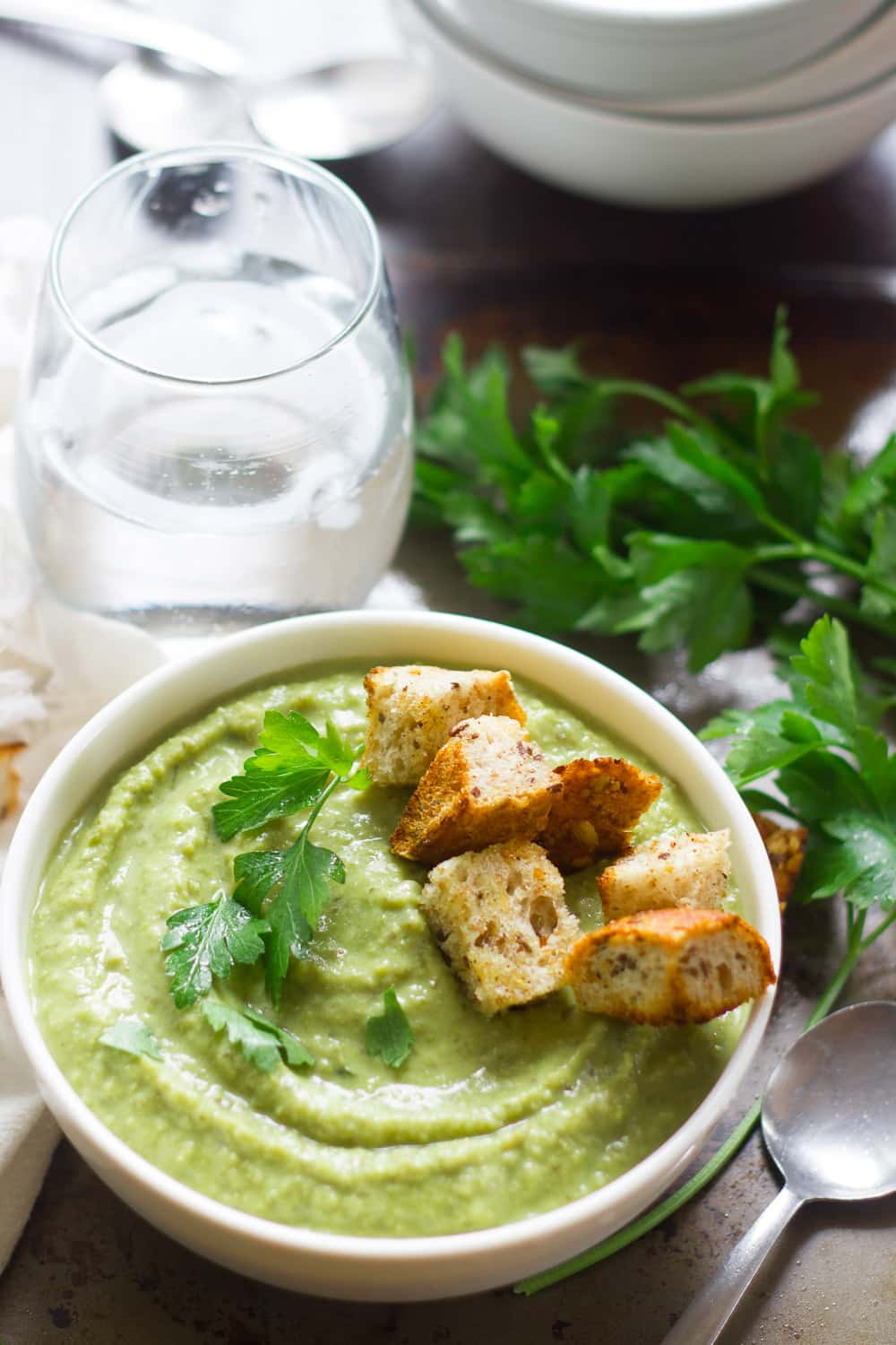 Herbed Fresh Pea Soup with Garlic Croutons