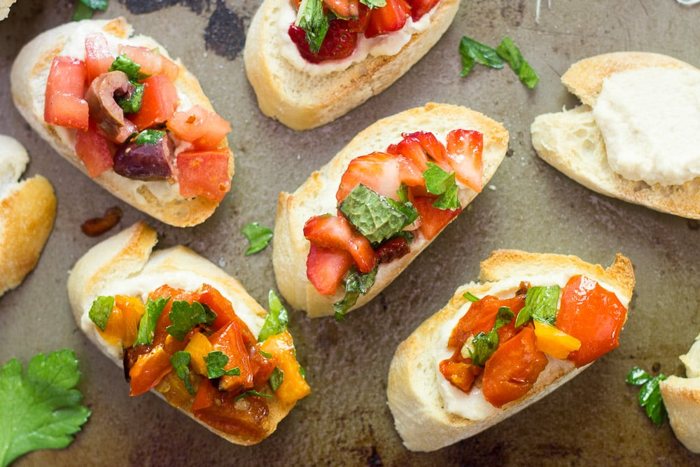Vegan Bruschetta (3 Ways!) with Creamy Cashew Cheese