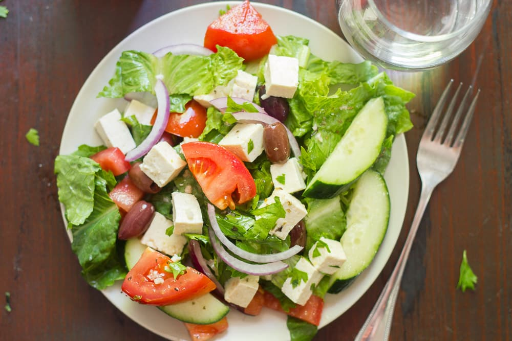 Vegan Greek Salad With Tofu Feta By Ohmyveggiescom