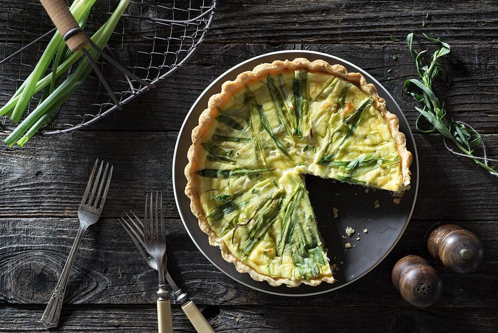 17 Creative Quiche Recipes: Tarragon Garlic-Infused Green Onion Goat Cheese Quiche