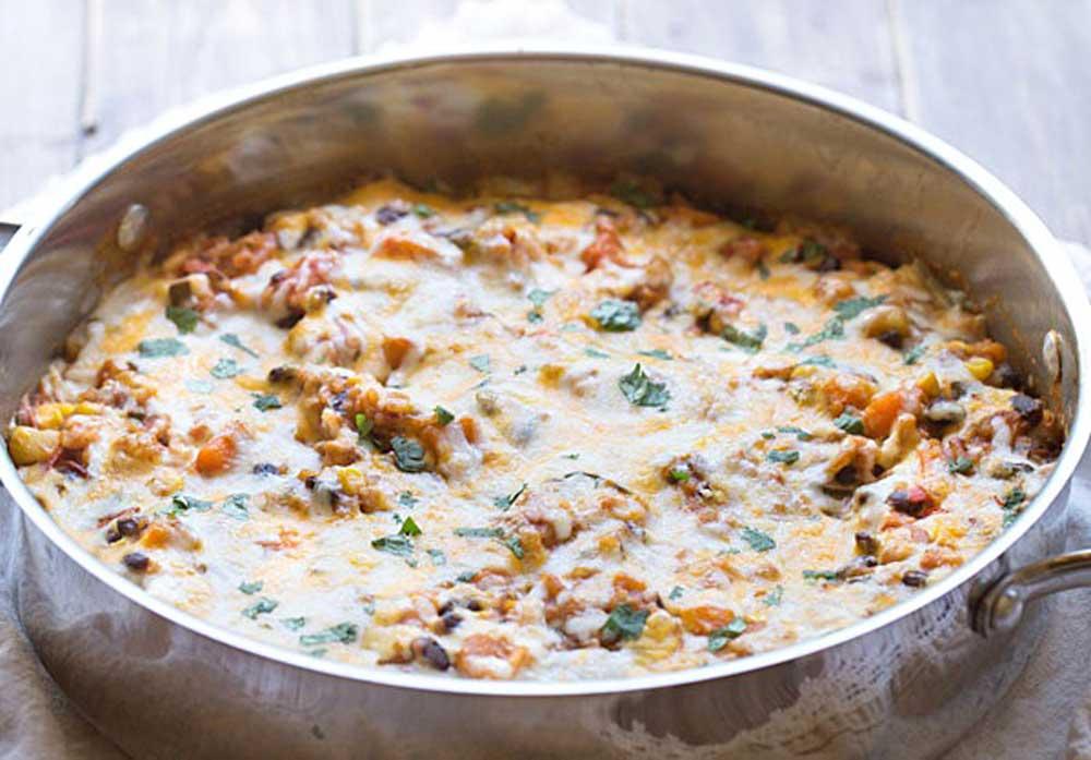 17 of the Best Vegetarian Casseroles: Sweet Potato Enchiladas Skillet Casserole