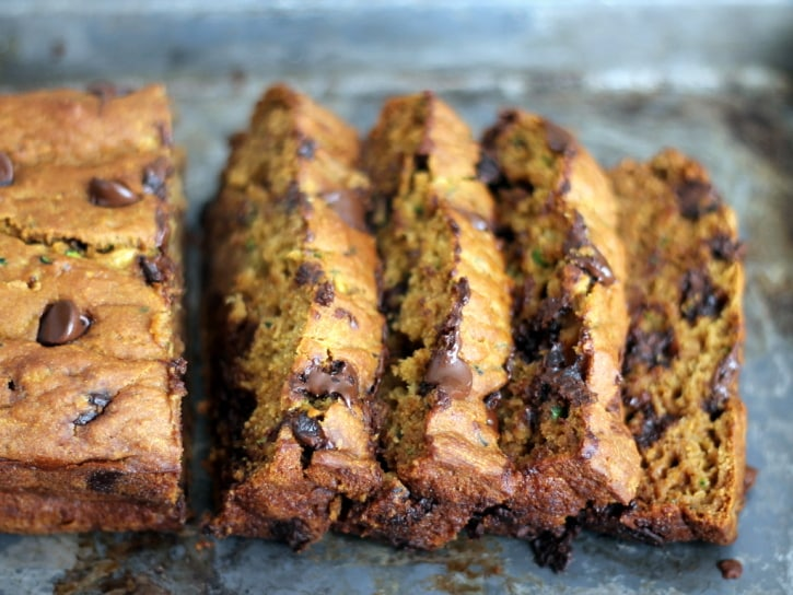 18 Zucchini Bread Recipes Everyone Will Love: Healthy Pumpkin Zucchini Chocolate Chip Bread